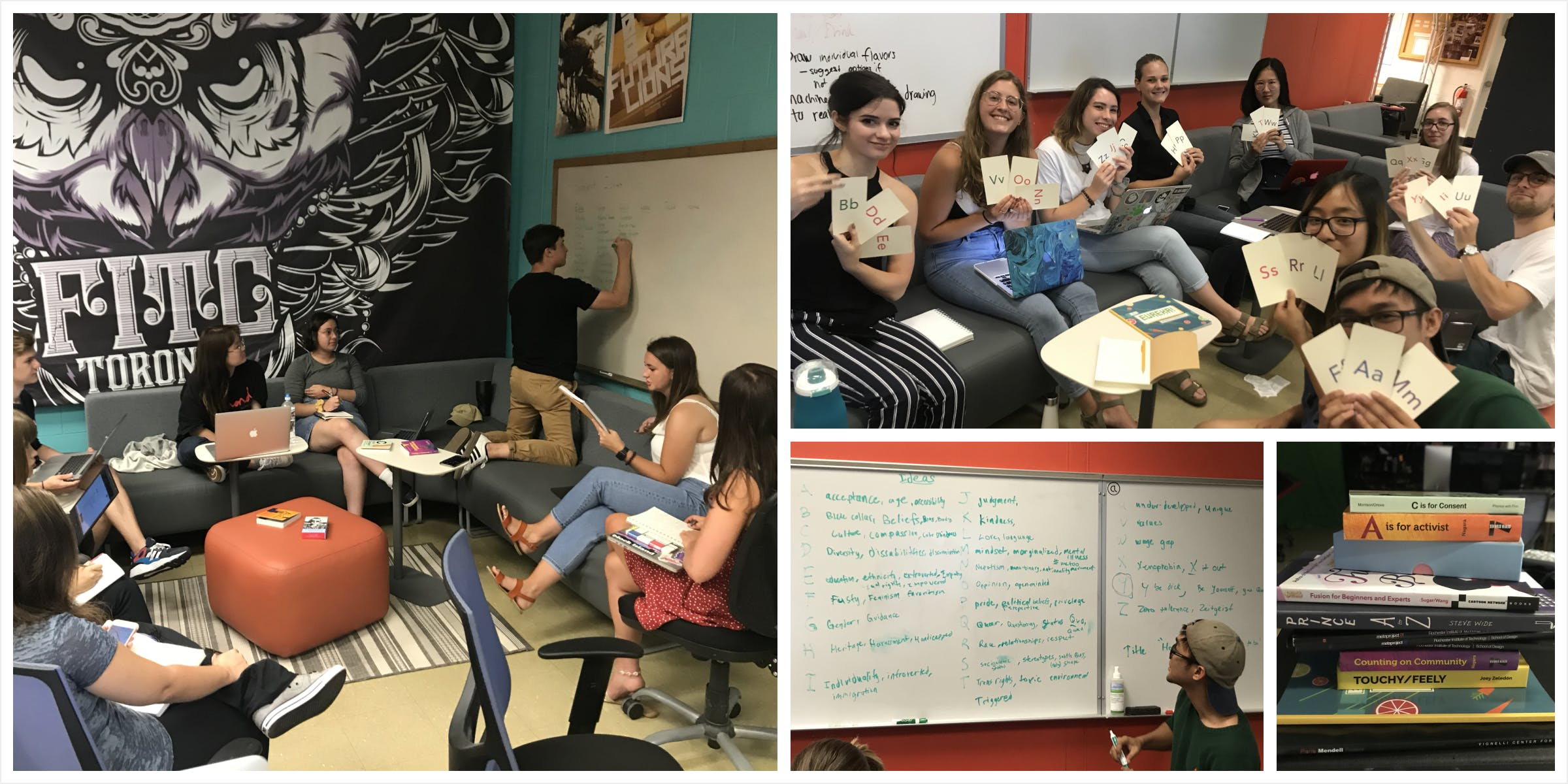 A grid of photos. Students in a space on couches with a white board writing down ideas. Students holding up lettered cards, and a pile of books.