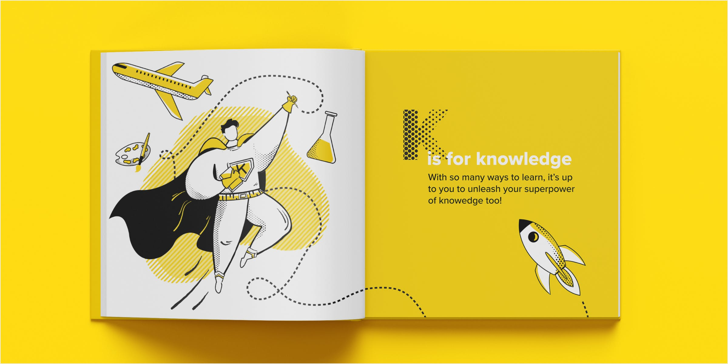 Mockup of knowledge spread in a book. An illustrated superhero figure in motion holding a book and pencil surrounded by a plane, science beaker, artists palette, and a rocketship that continues onto the right page.