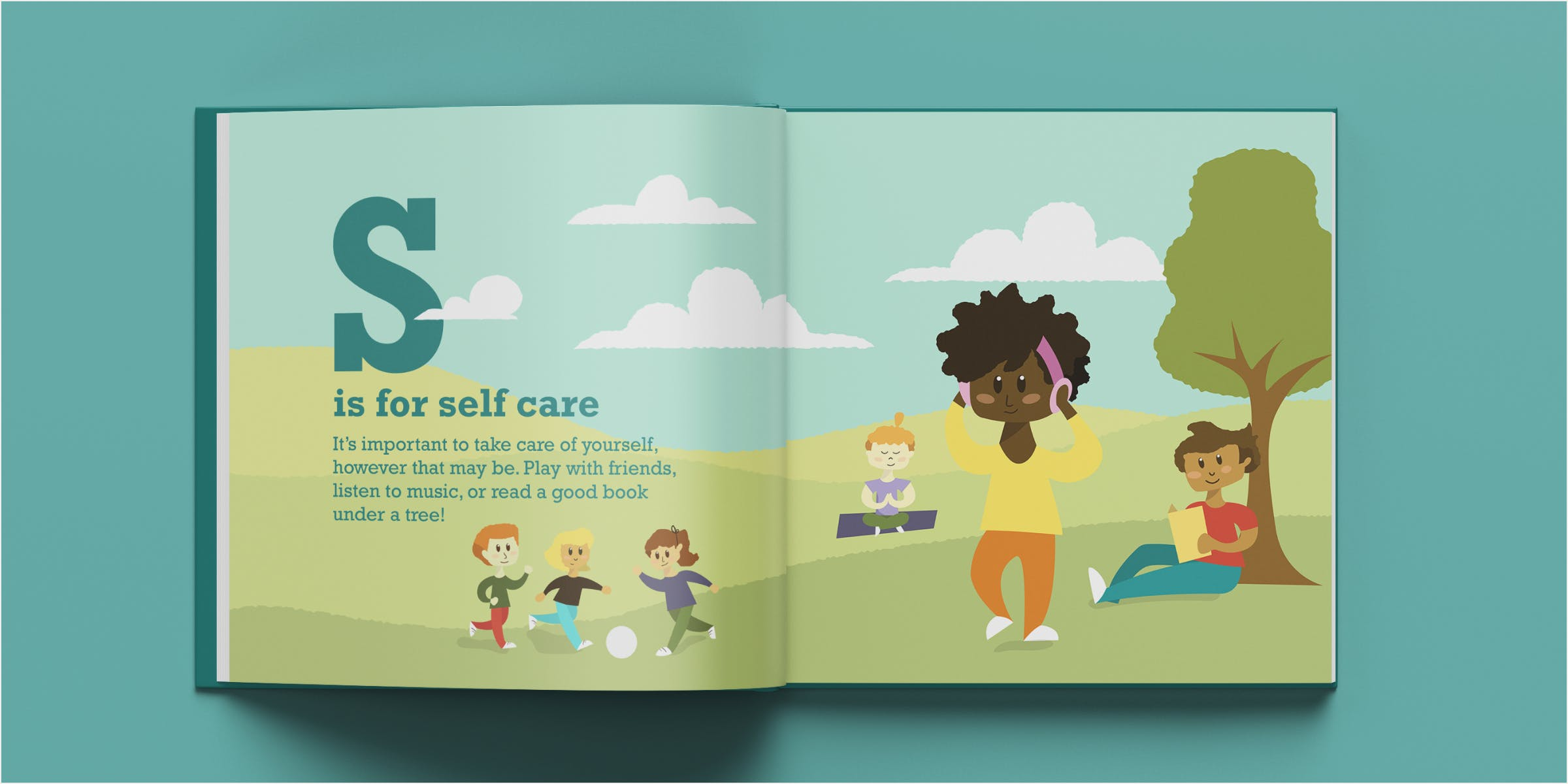 Mockup of self-care spread in a book. A group and several individual characters participating in self-care activities in an outdoor hill setting.