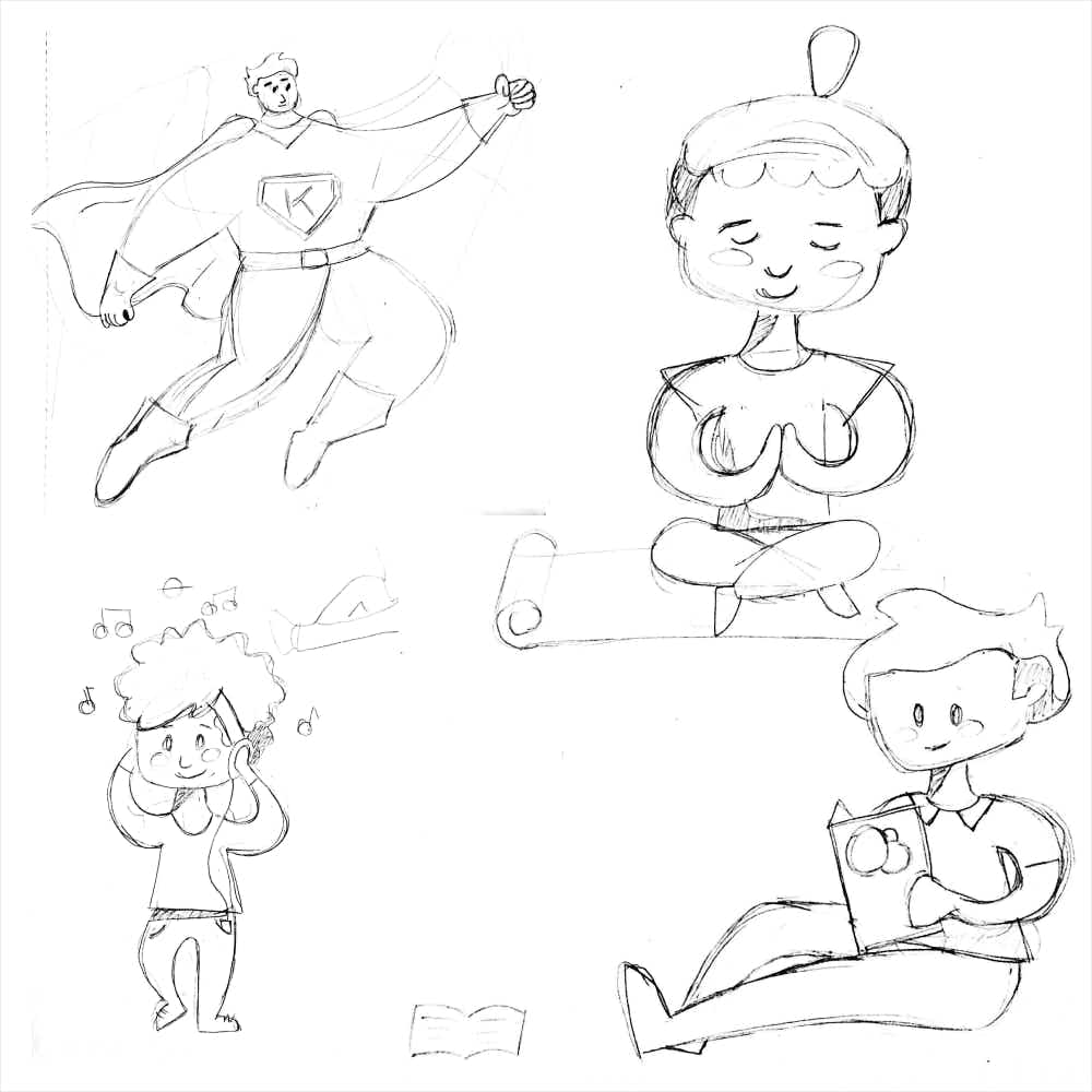 Hand-drawn character sketches