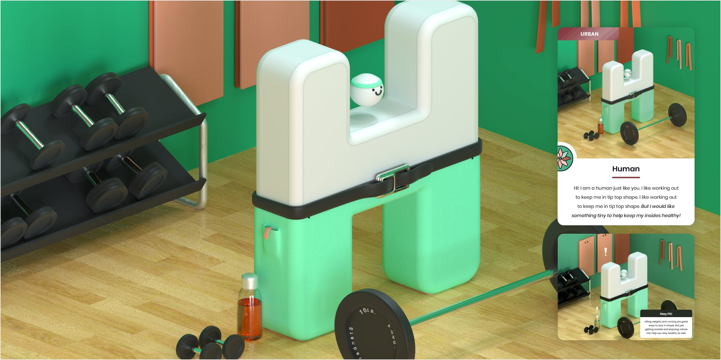 A close up of the illustration of the 3D modeled human in a gym environment with an example of the iPad interaction and print playing card.