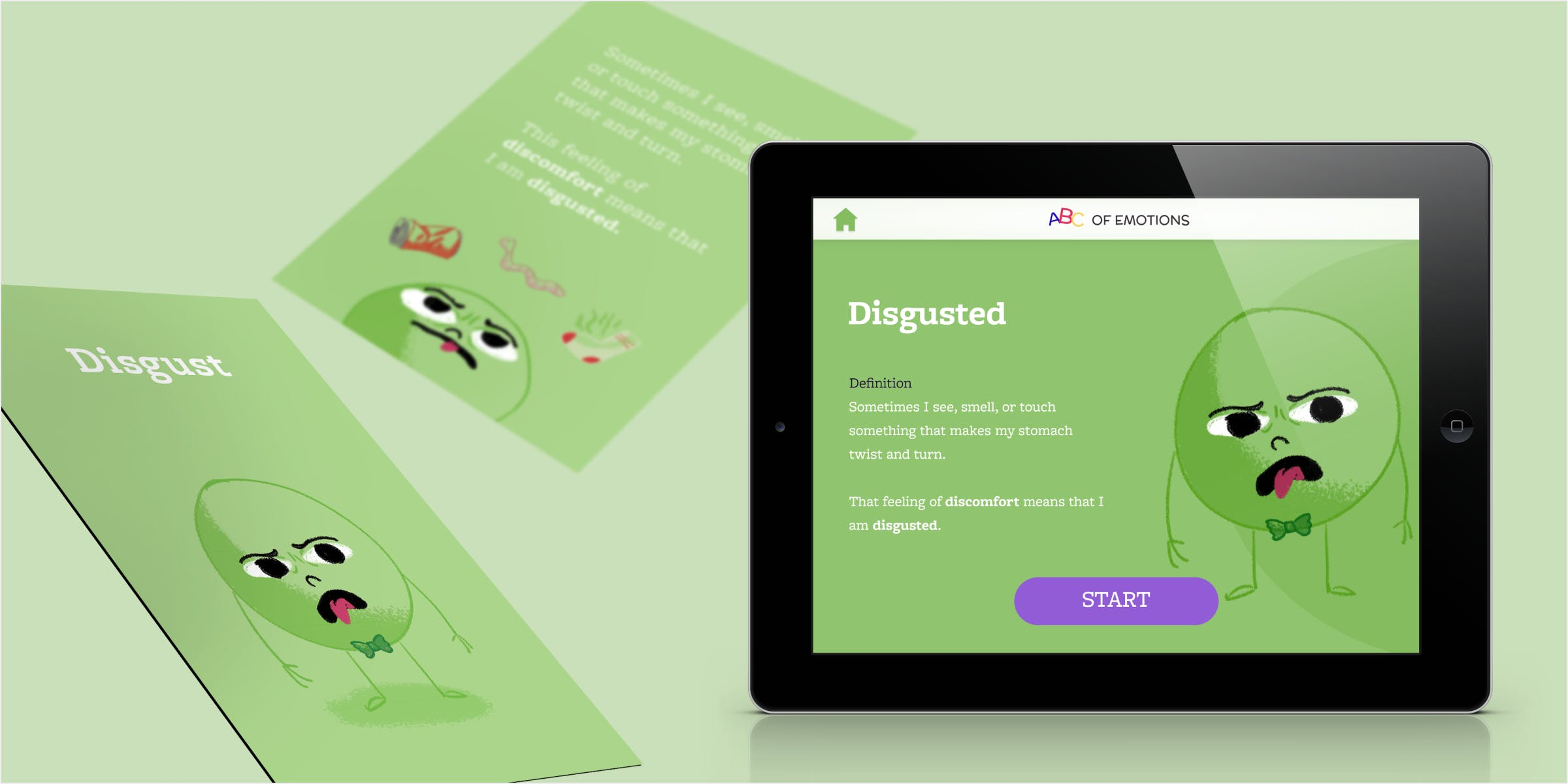 Mockup of the front and back of the card designed for Disgust and an iPad with the first page of the interaction displayed