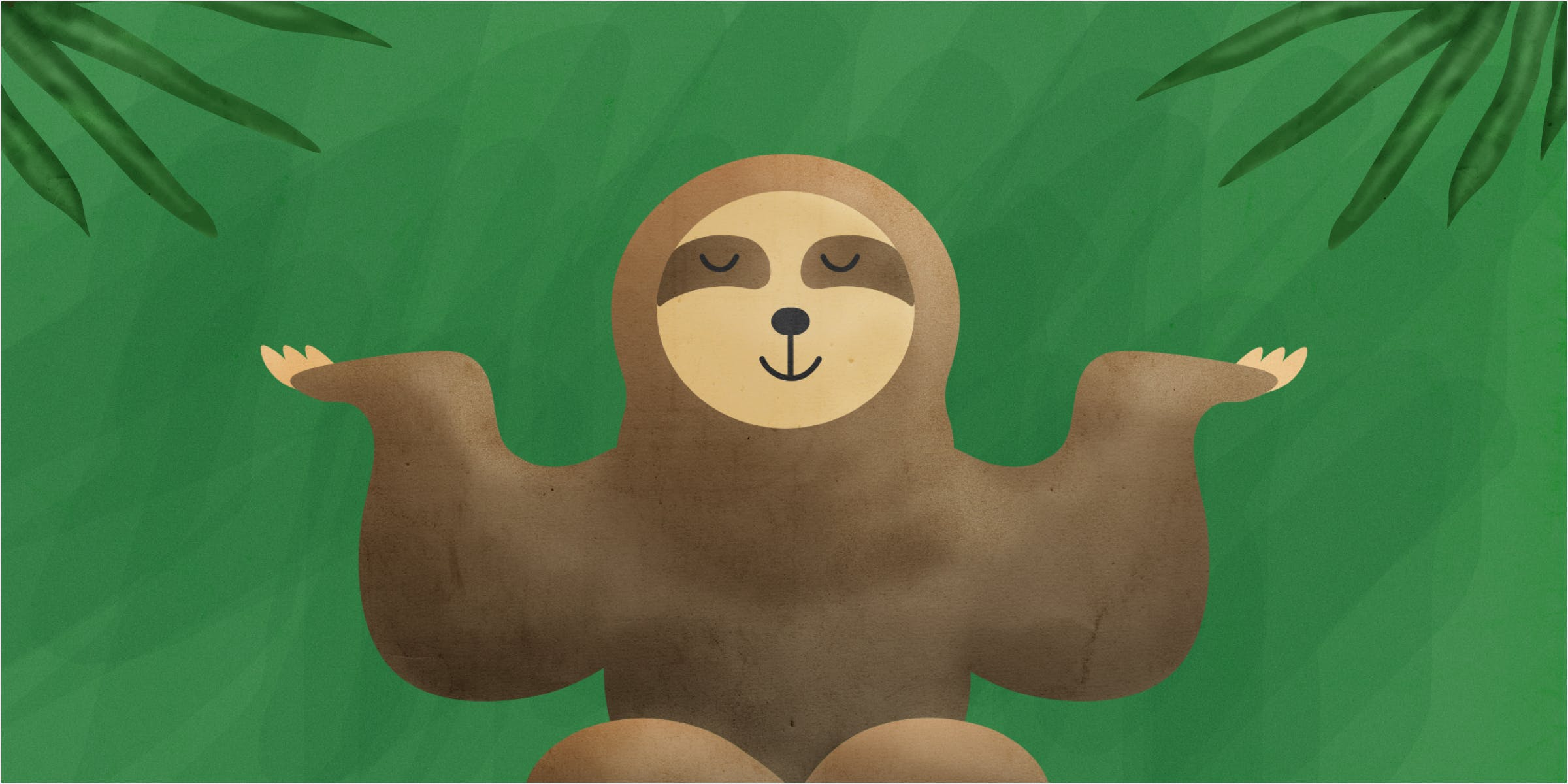 A sloth sits in a balanced pose as if she is mediating and full of zen.