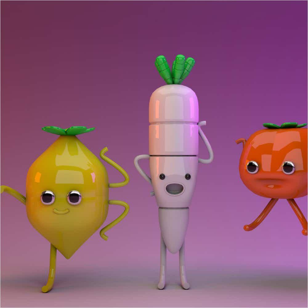 Final renders of vegetables in Cinema4D.