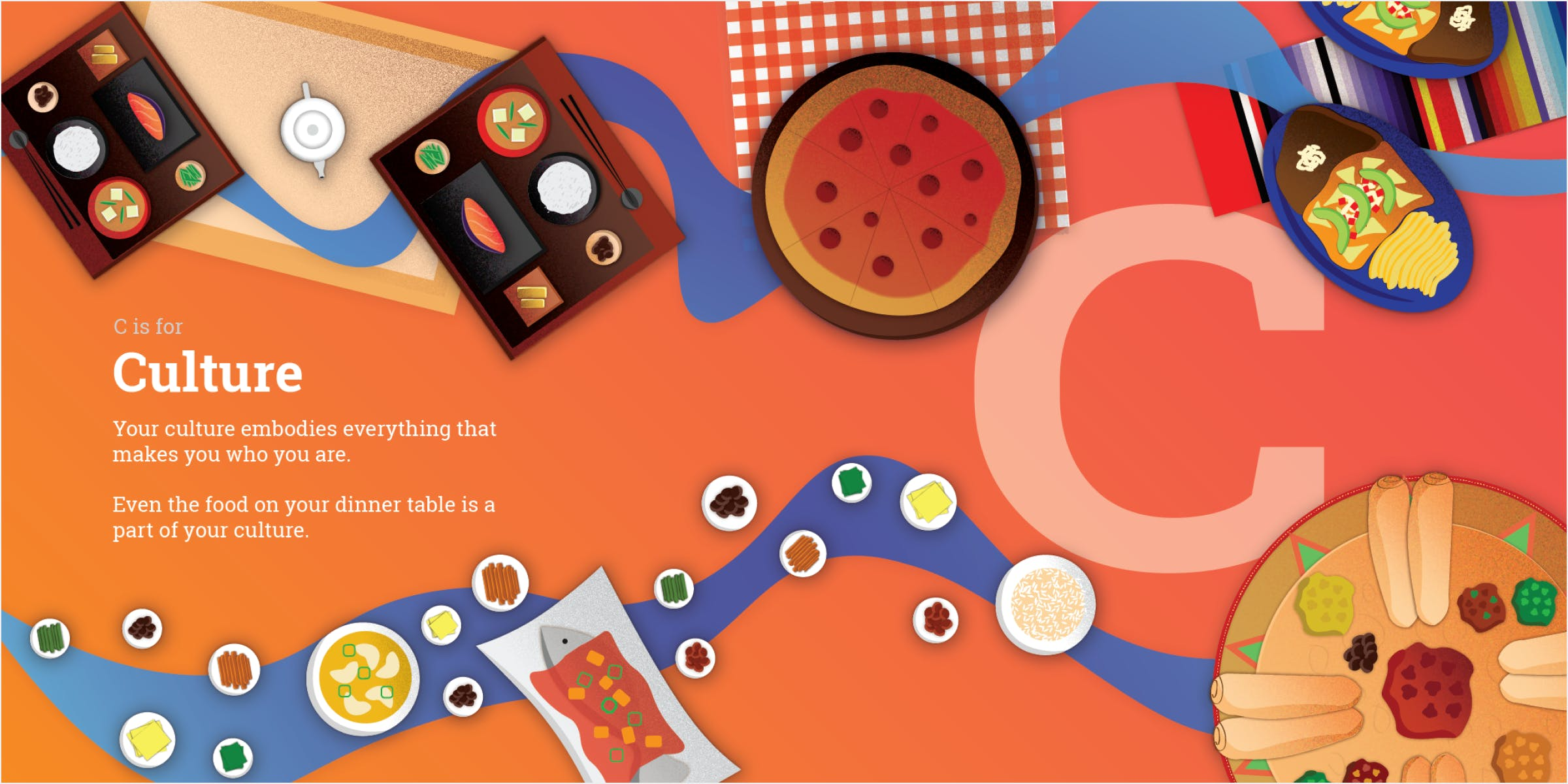 Two-page spread representing a dinner table with an assortment of culture's traditional meals.