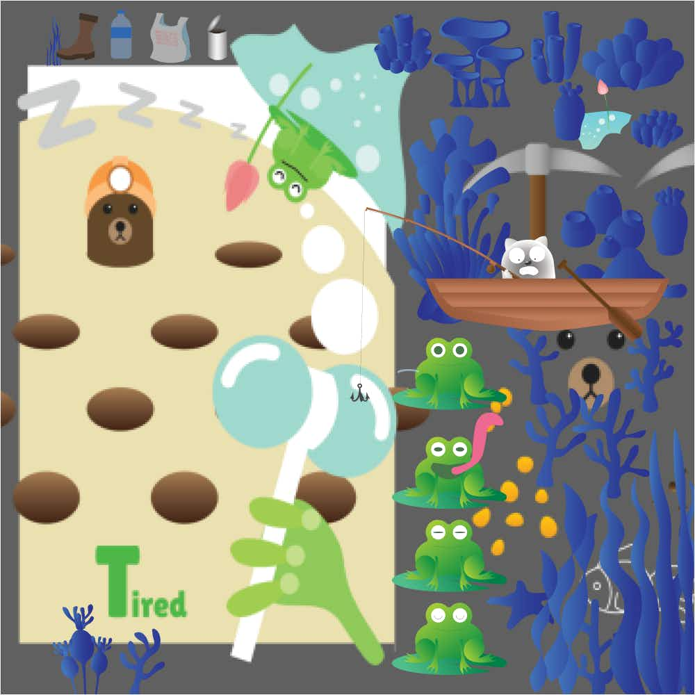A mashup of assets including frogs, moles, and underwater seaweed