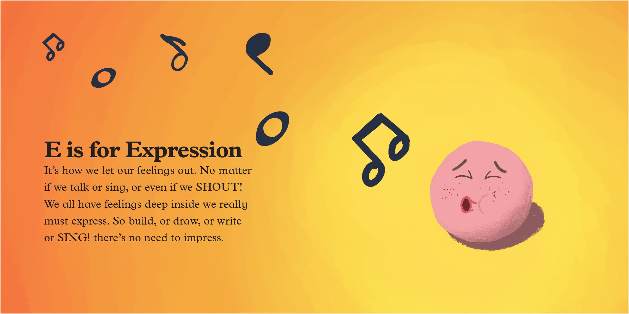 Full spread of expression: a sphere whistling a happy tune, an expression of pure joy.