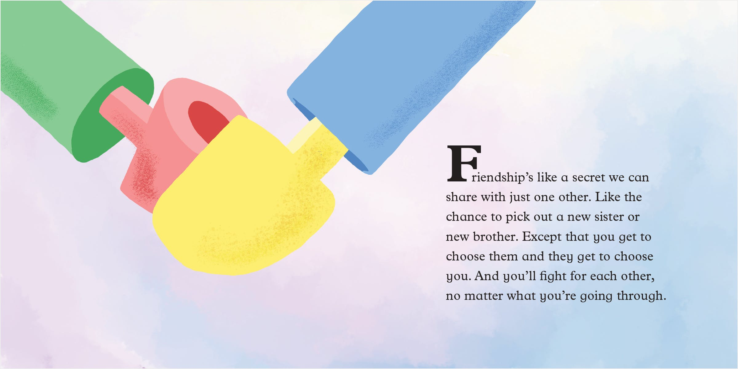 Full spread of friendship: an image of two different colored hands, holding hands.