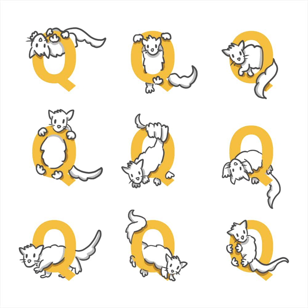 A grid of Qs with quolls sketched in various positions on or around the letter