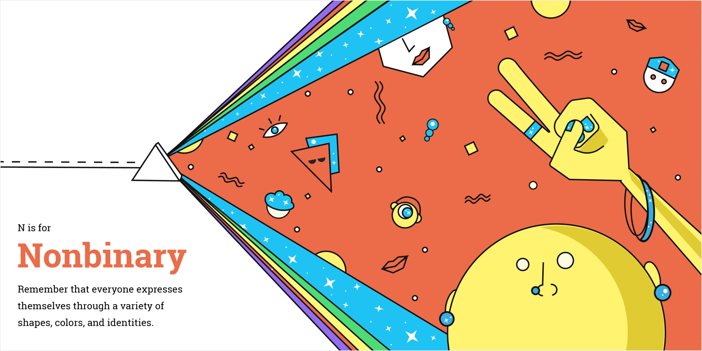 Mockup of Nonbinary spread in a book. Prism expanding to reveal characters constructed from abstract shapes.