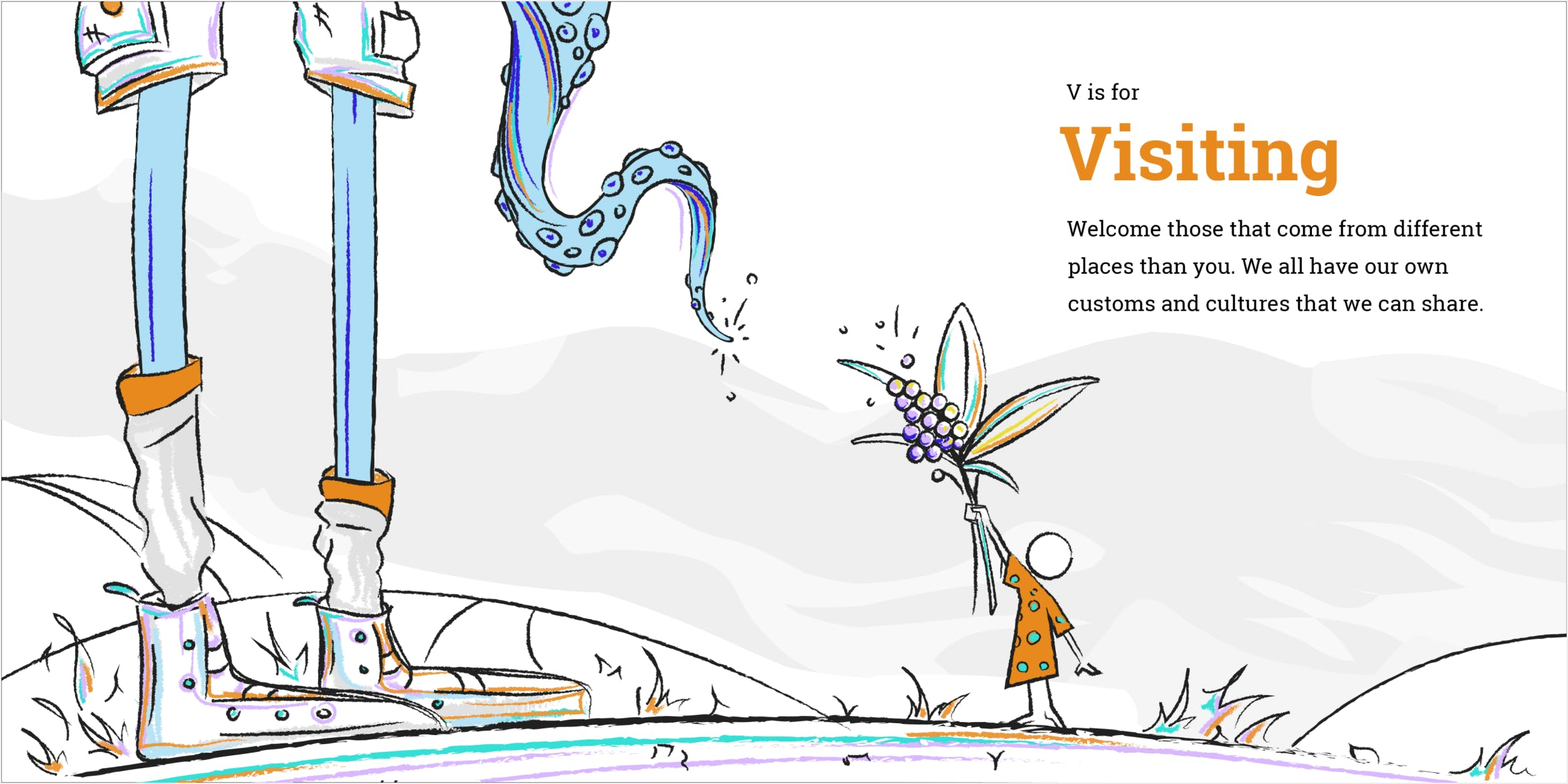Mockup of visiting spread. A child reaches to offer a gift to the tentacle creature.