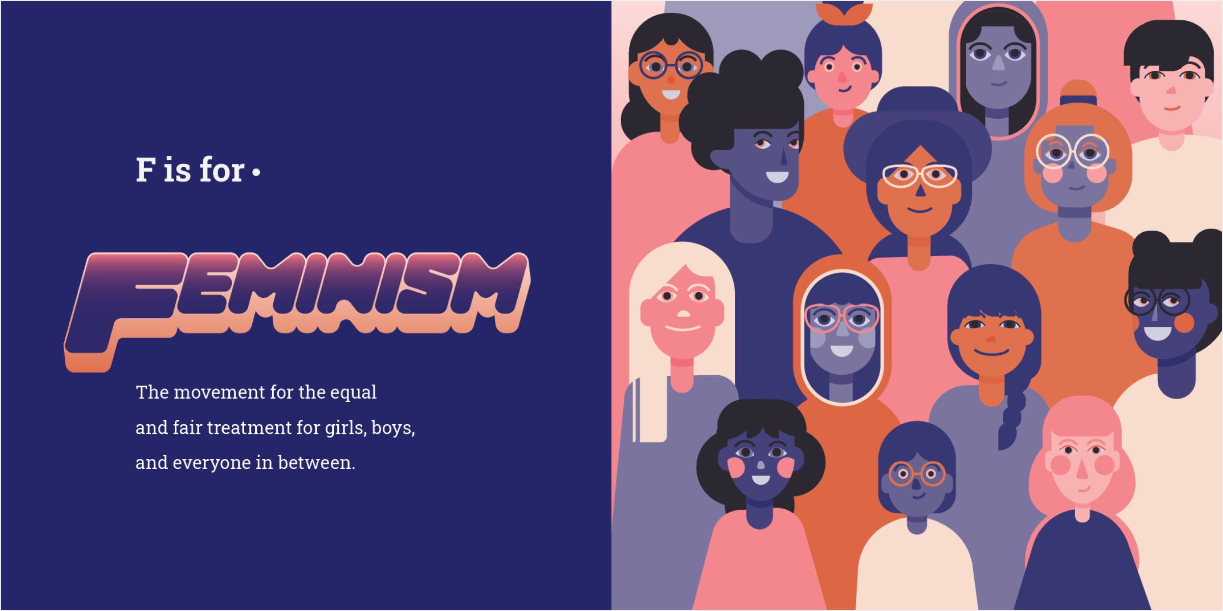 Feminism spread in a book. Several girls stand together to advocate women's rights.