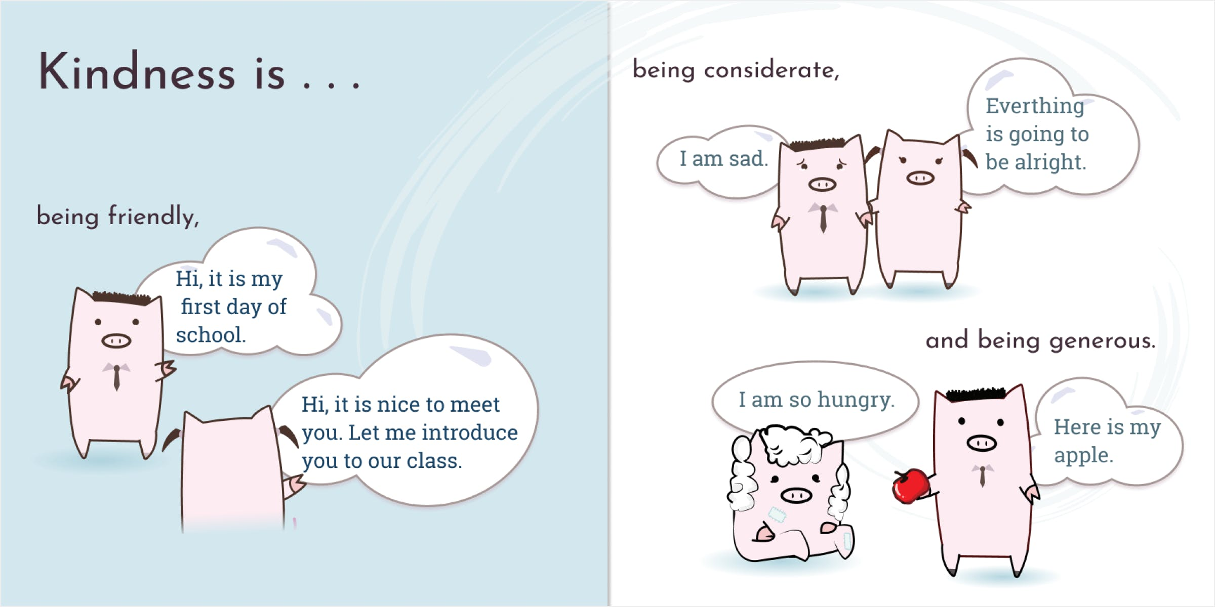 Illustrations of pigs depicting a scenario of kindness