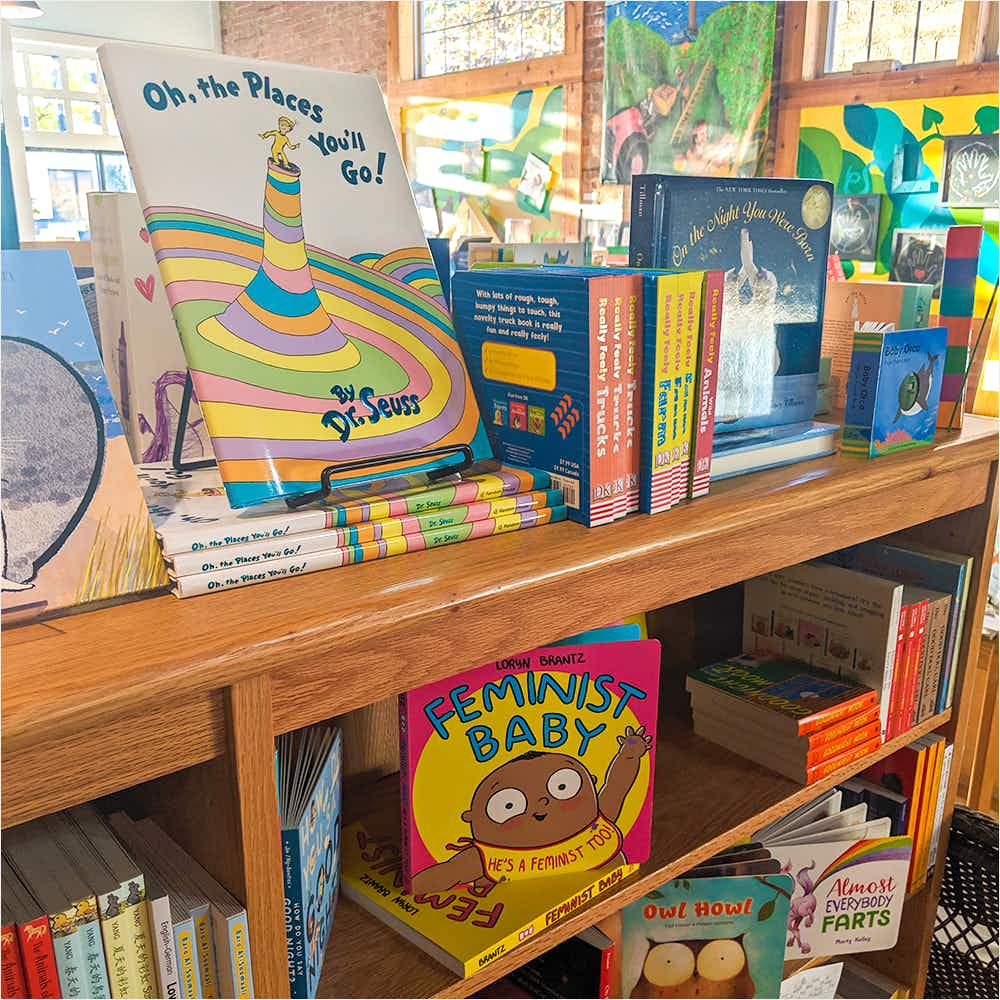 Children's books in shelves