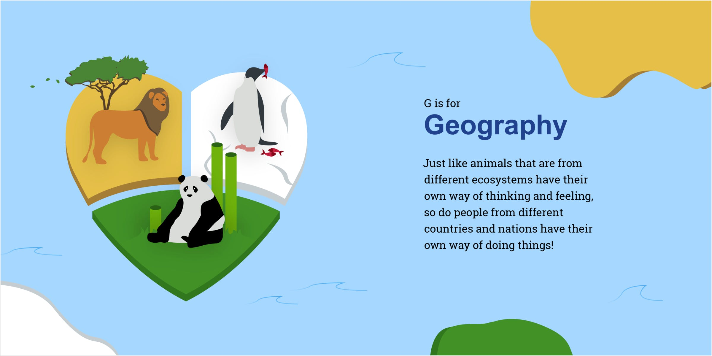 Mockup of geography spread in a book. Continents featuring different animals and habitats align to create a heart shape.