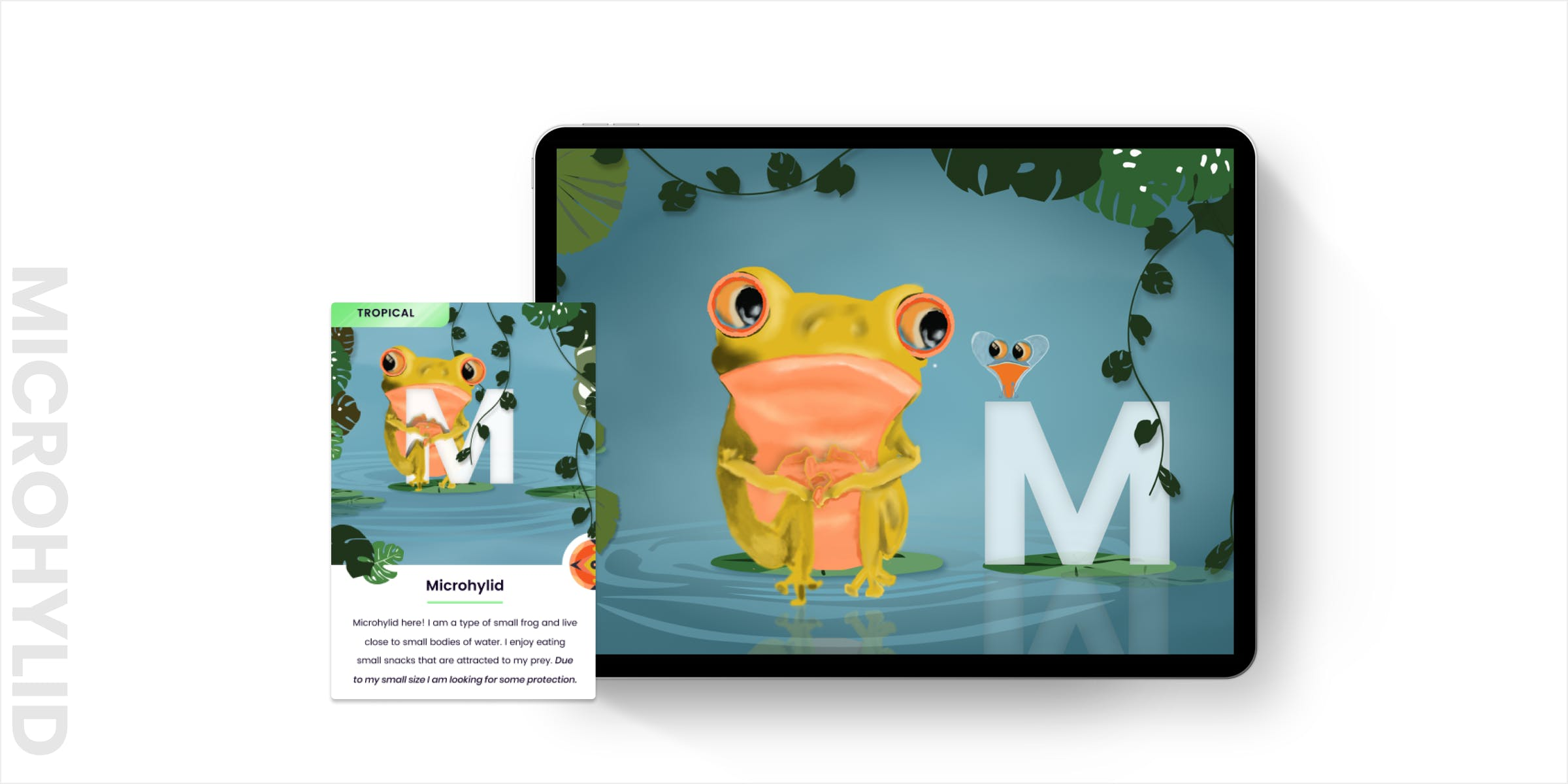 Mockup of microhylid interaction in an iPad and printed card next to it. The microhlid is looking around hiding behind the M looking for protection.