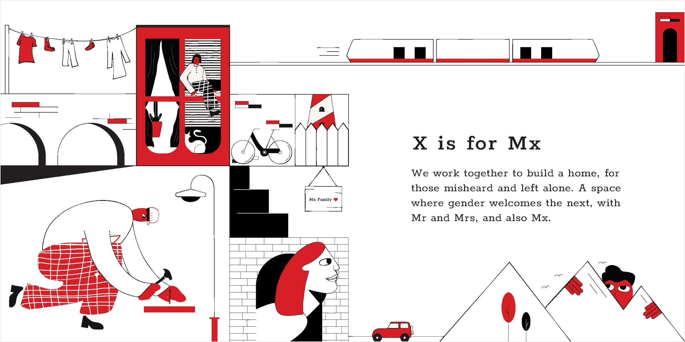 Composition of the Mx spread made in Illustrator. People work together to build a space and home that welcomes everyone.