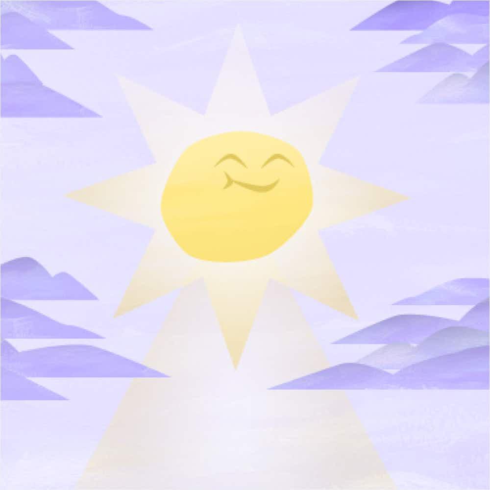 Original happy card back design; light yellow sun shining through lavender colored sky