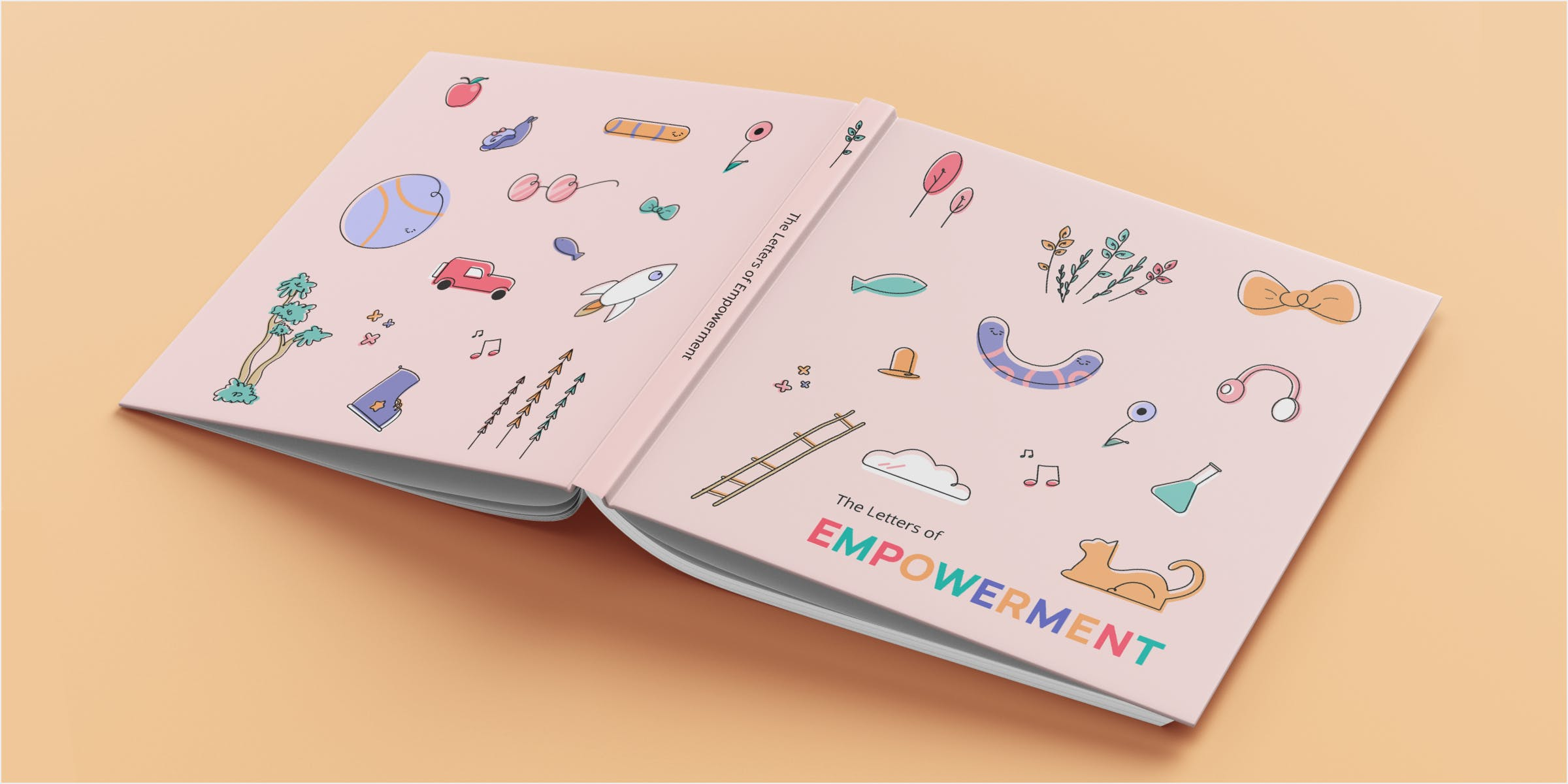 """Mockup of book cover on a book. Many objects seen on the pages inside are shown on the front and back cover with the words """"Letters of Empowerment"""" on the spine."""
