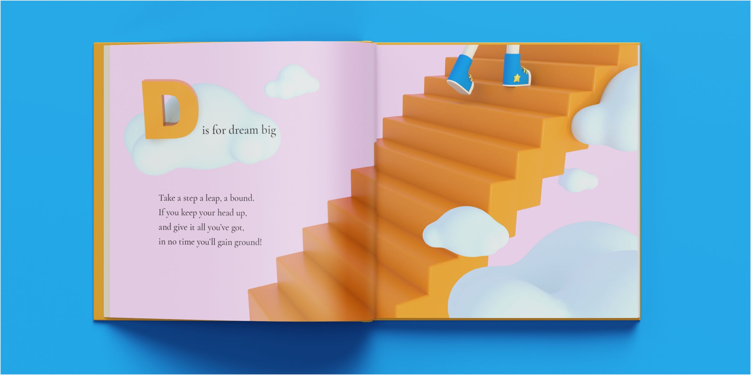 Mockup of dream big spread in a book. Shoes are seen ascending stairs surrounded by big fluffy clouds