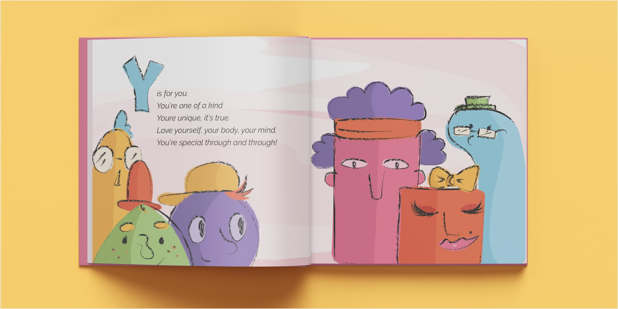 Mockup of you spread in a book. 6 bizarre characters of different shapes, sizes, and colors group together happily.