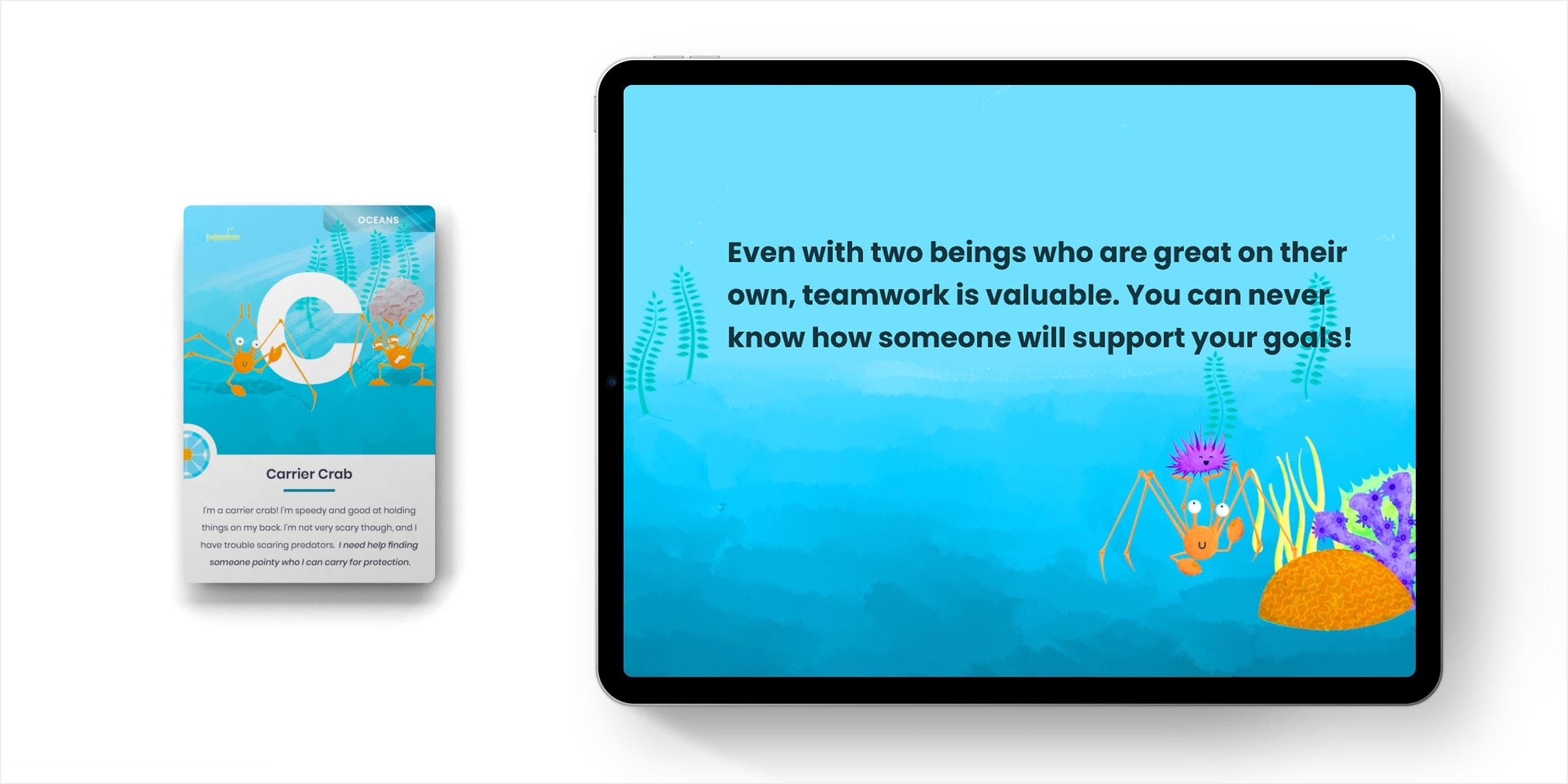 Mockup of the Crab card and interactive piece side by side.