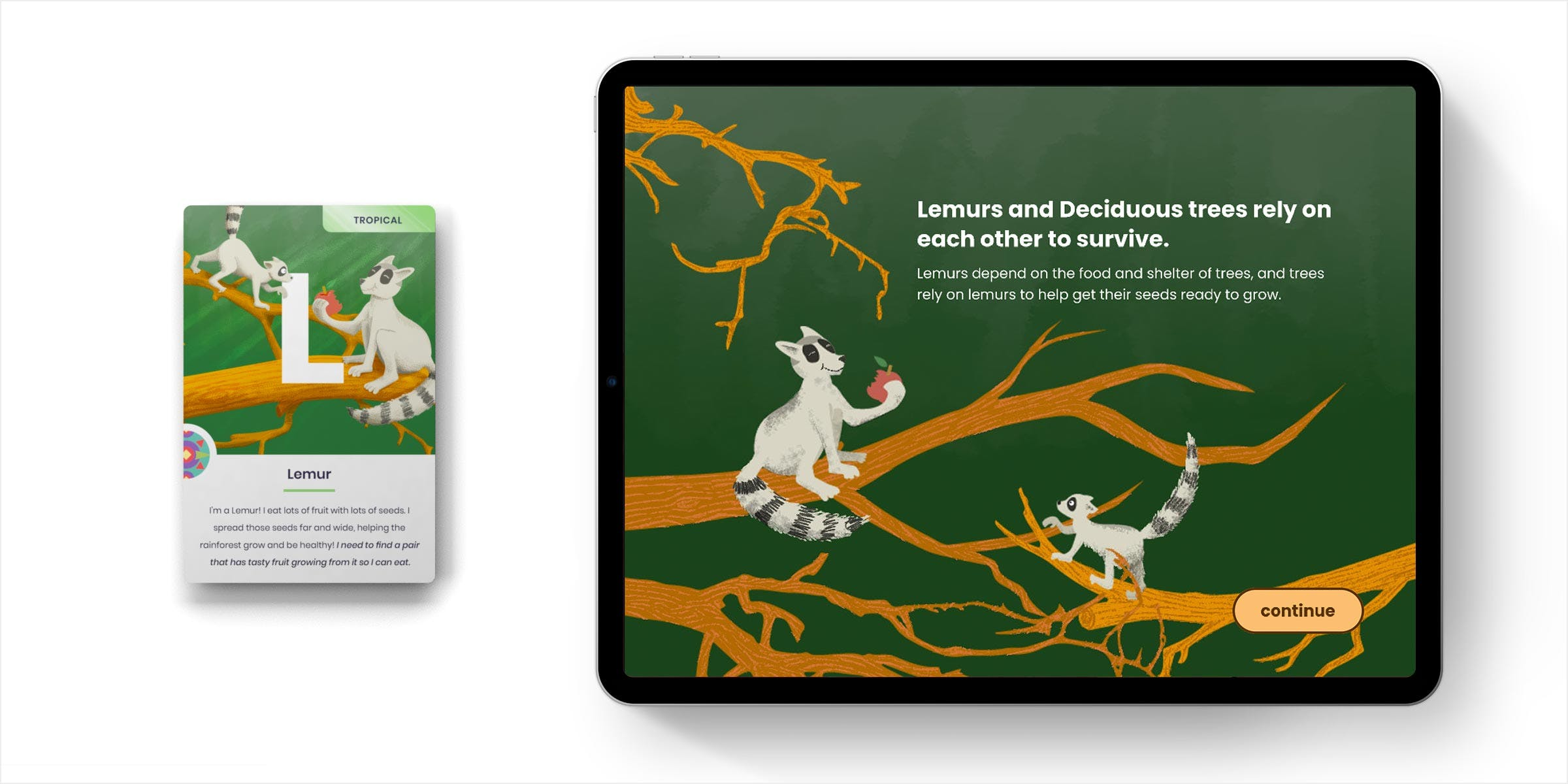Mockup of the lemur card and interactive piece side by side.