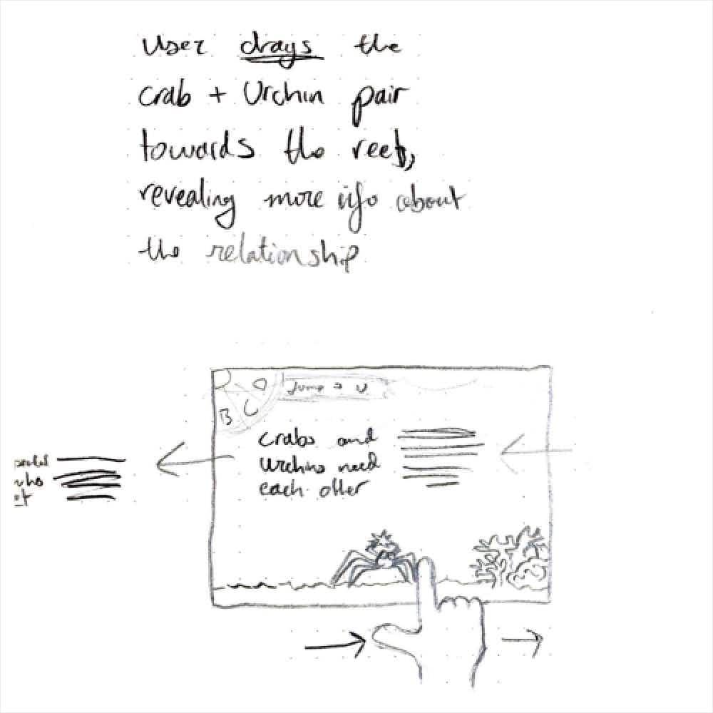 Sketch of crab digital interaction
