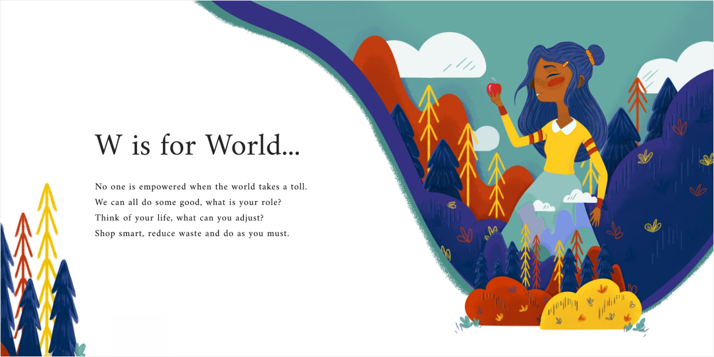 Image of World Spread. An image of a girl eating an apple and the world around her.