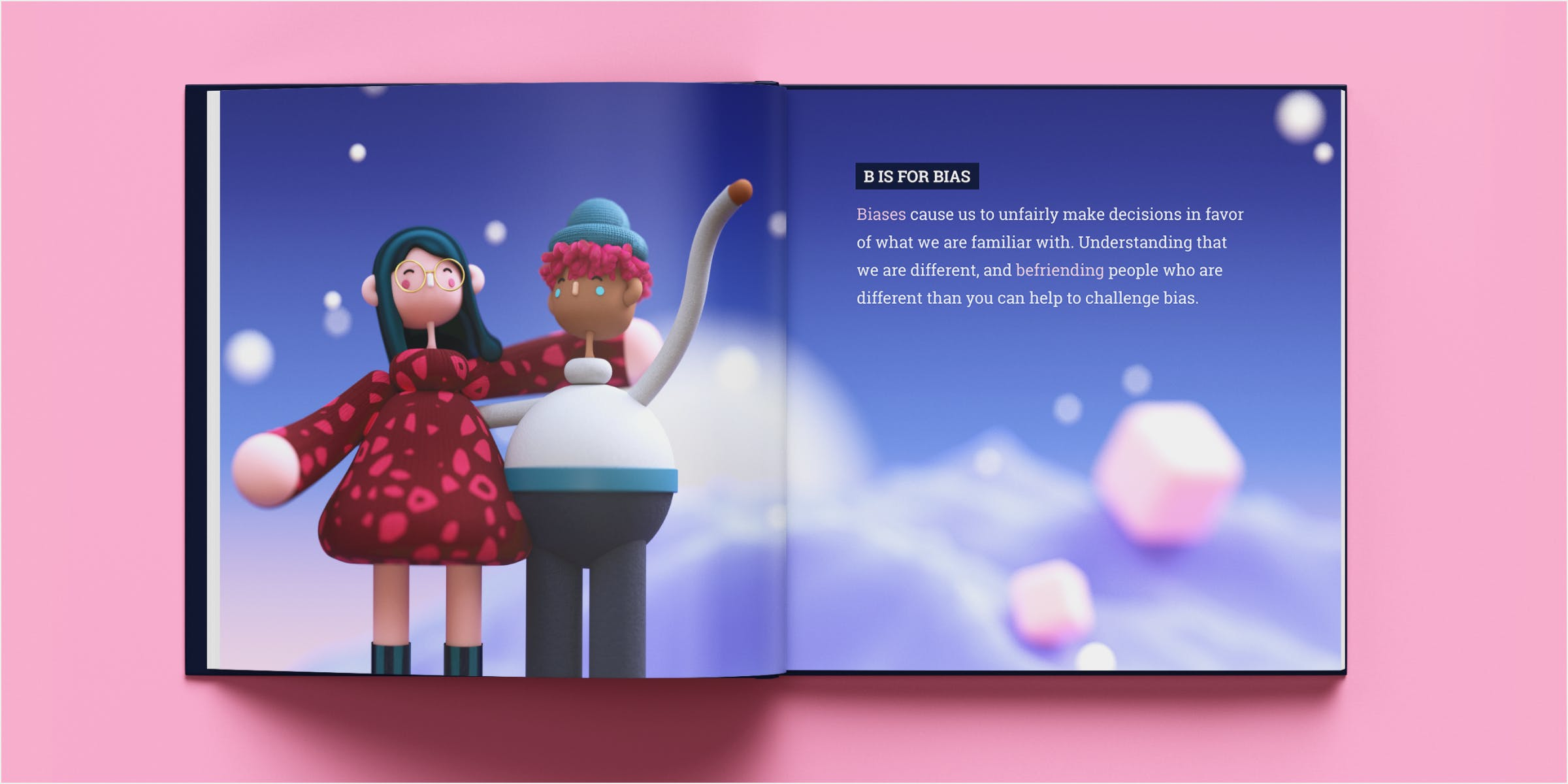 Mockup of bias spread in a book. Two happy 3D characters are arm in arm.