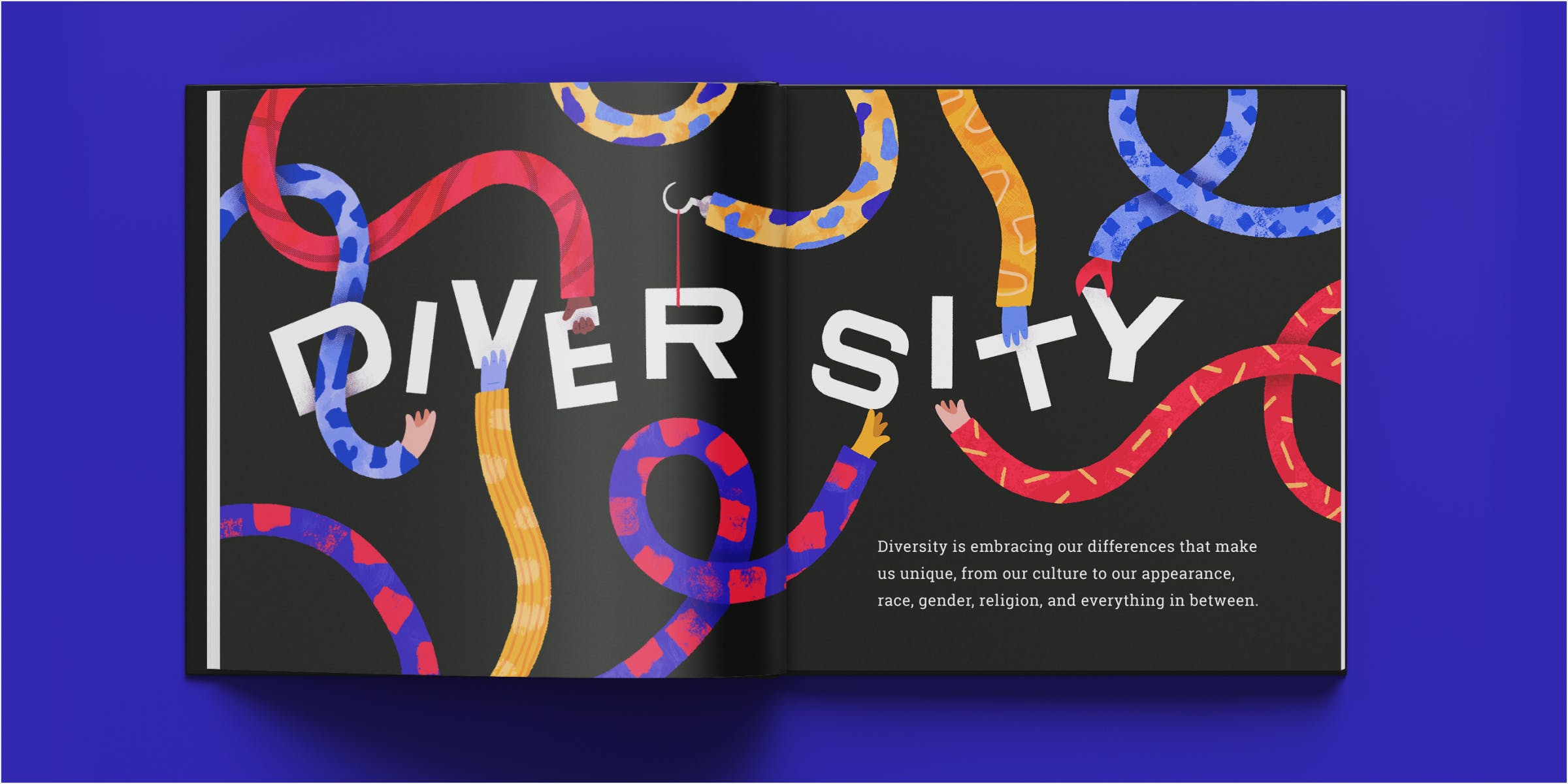 """Mockup of diversity spread in a book. Several arms and hands work together to build the word """"diversity"""""""
