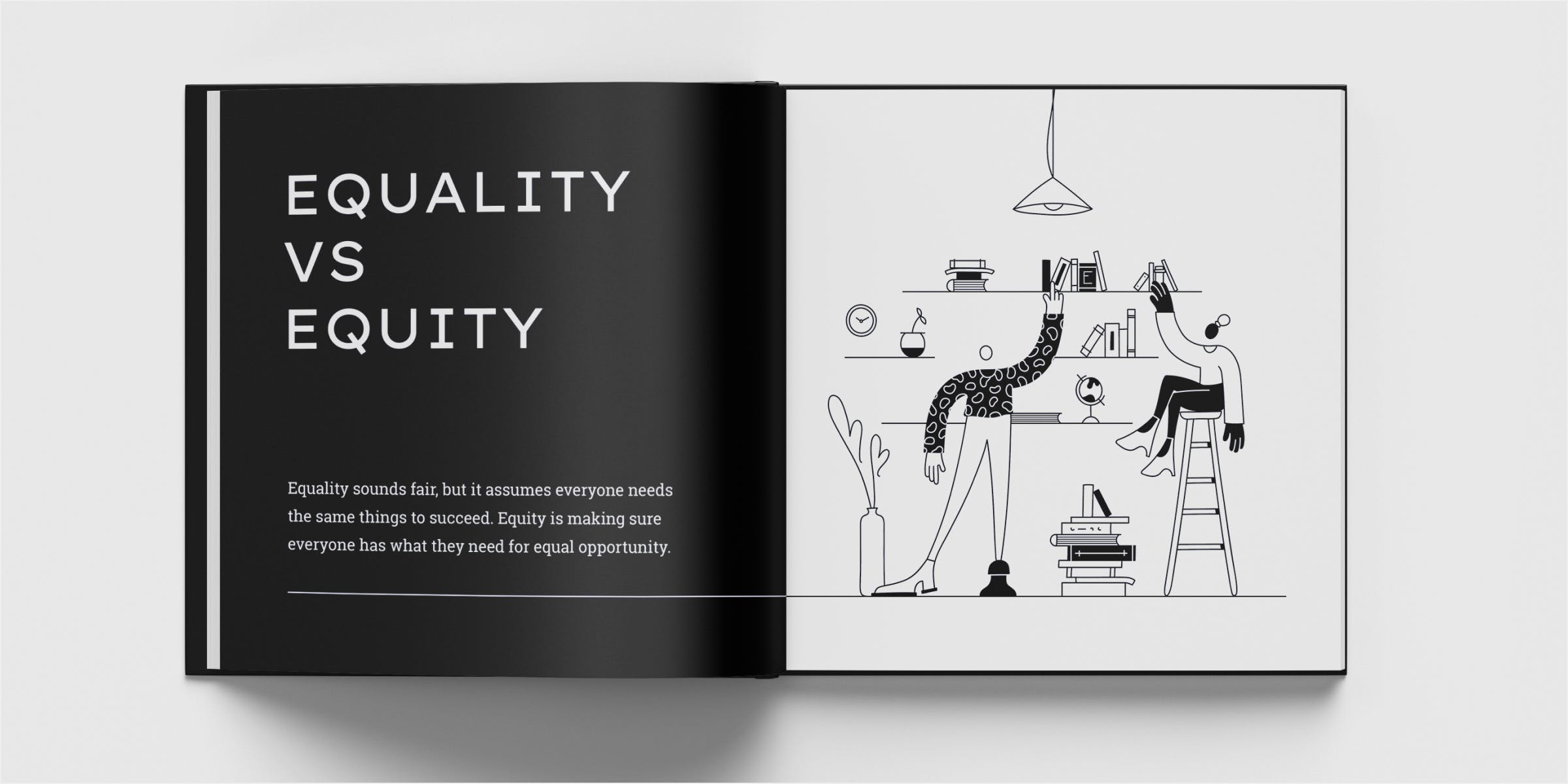 Mockup of equality versus equity spread in a book. A man reaches for a book on the top shelf and a woman sits on a stool to reach the top shelf.