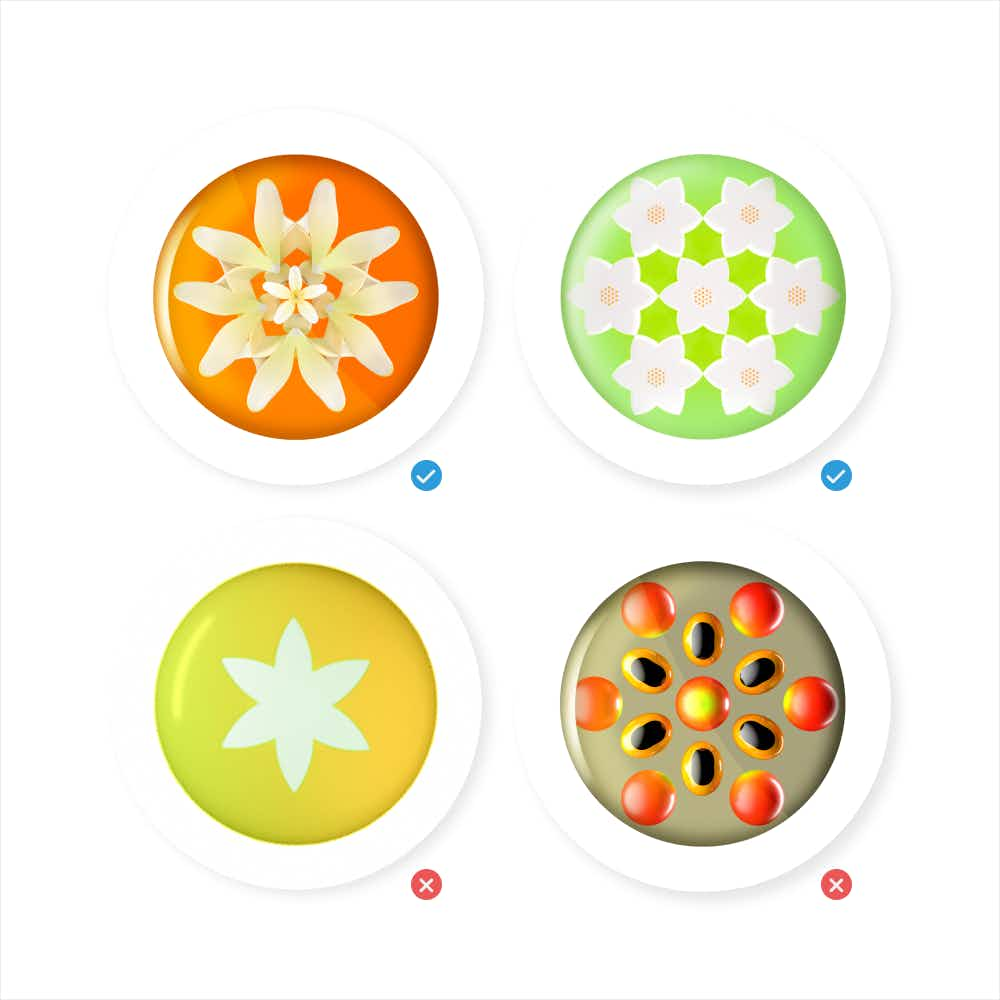 Four different button iterations.