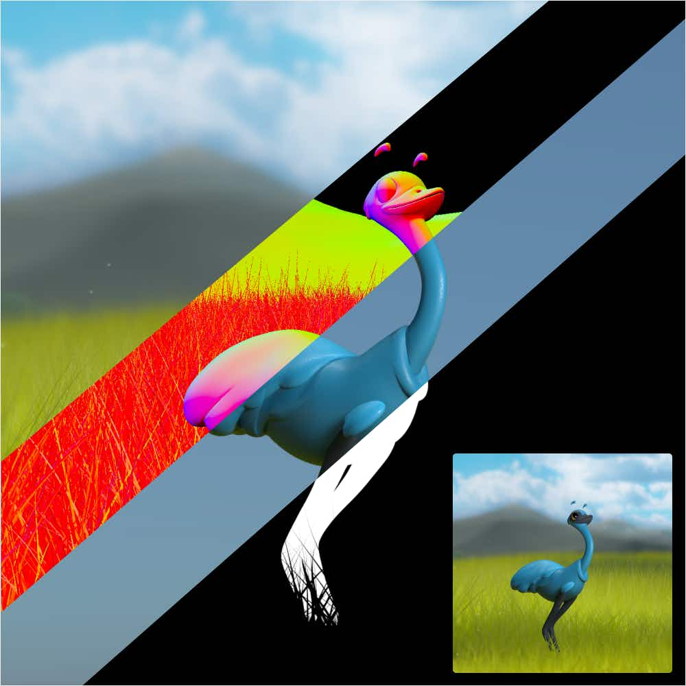 Emu image with different passes: background only, zdepth, emu only, emu alpha.