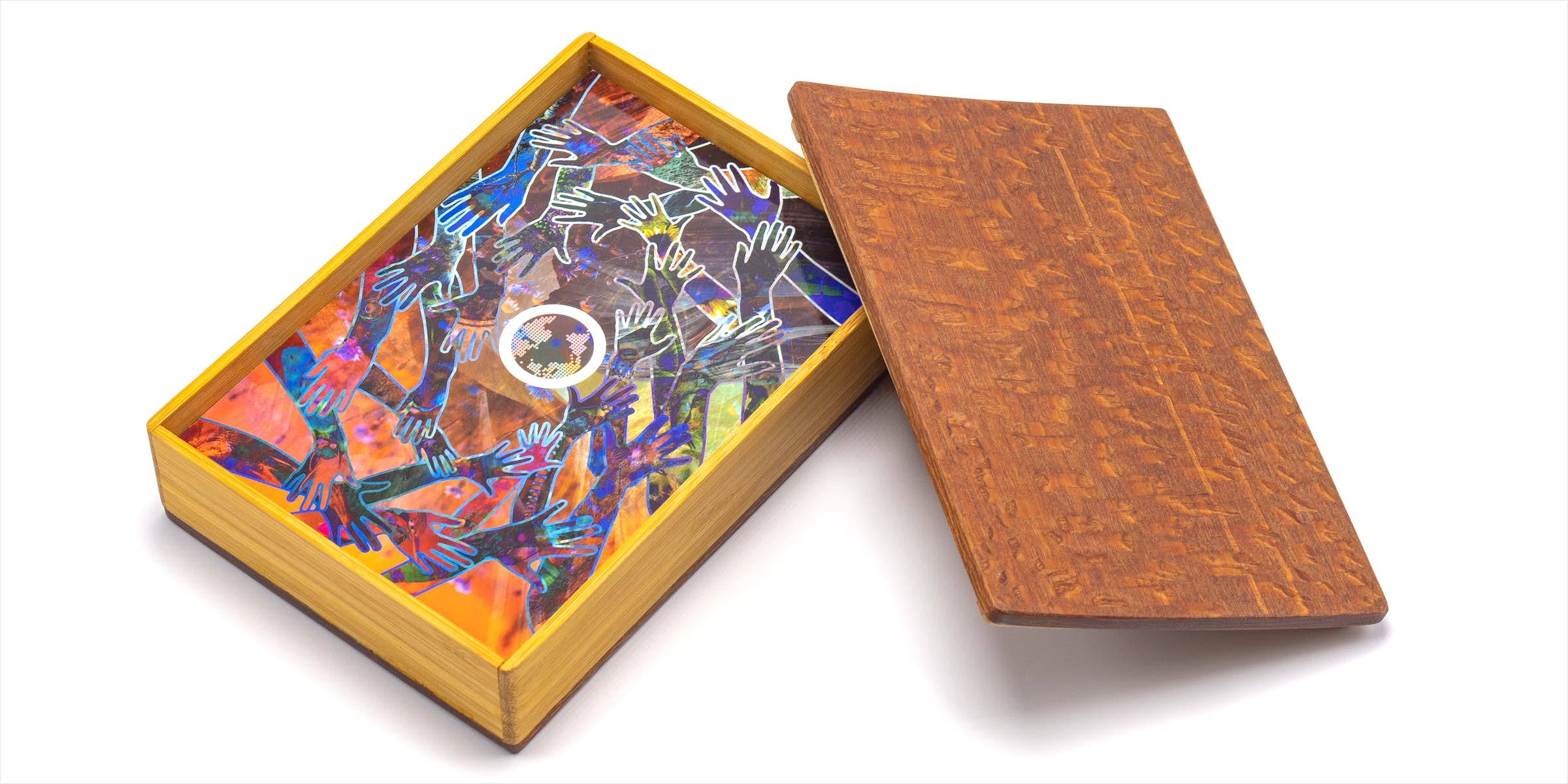Box of Symbiosis Cards with the lid off