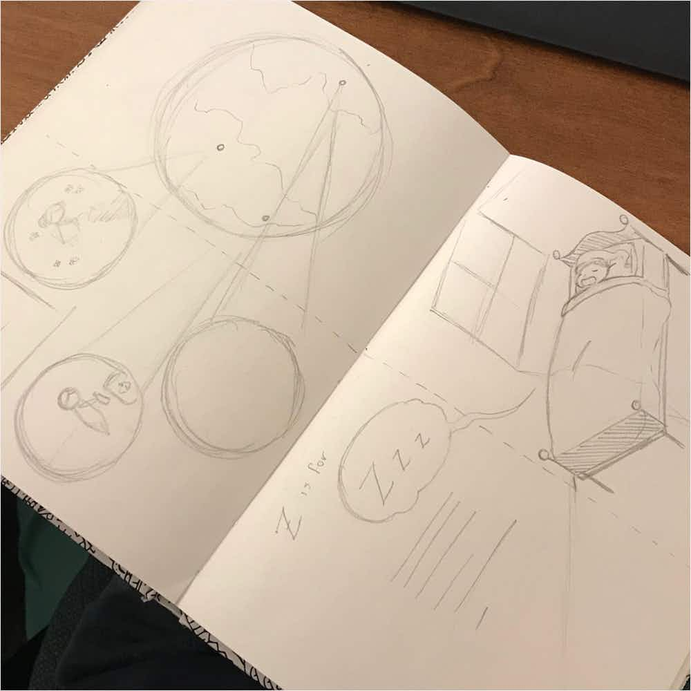 Sketches of the P and Z pages