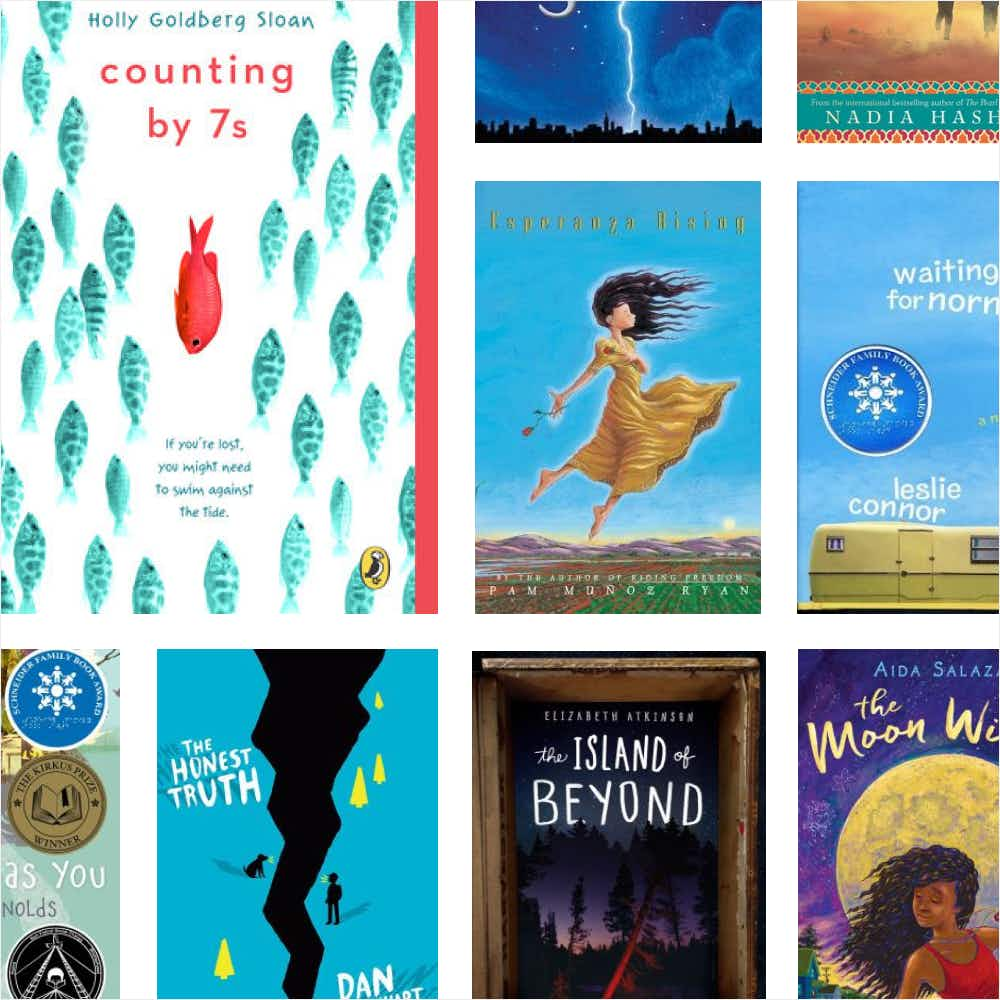 A grid of different 4th to 6th grade children's literature