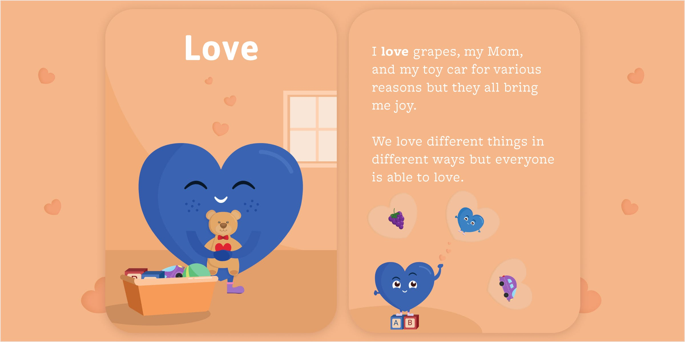 Front and back cards of the love emotion cards. Illustration of blue heart hugging teddy bear.